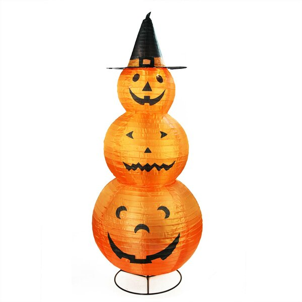 Pumpkins with Witch Hat Halloween Lighted Display by The Holiday Aisle
