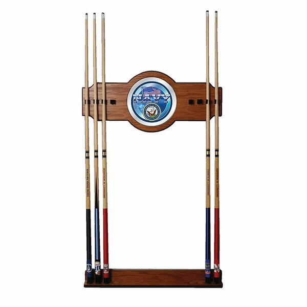 U.S. Navy 2-Piece Wood and Mirror Wall Cue Rack by Trademark Global