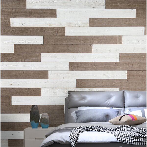 5 Solid Wood Wall Paneling in Warm Sand/White by WoodyWalls