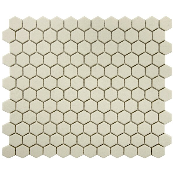 New York Hexagon 0.875 x 0.875 Porcelain Unglazed Mosaic Tile in Textured Cream by EliteTile