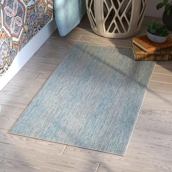 Myers Abstract Gray/Aqua Indoor/Outdoor Area Rug by Mistana
