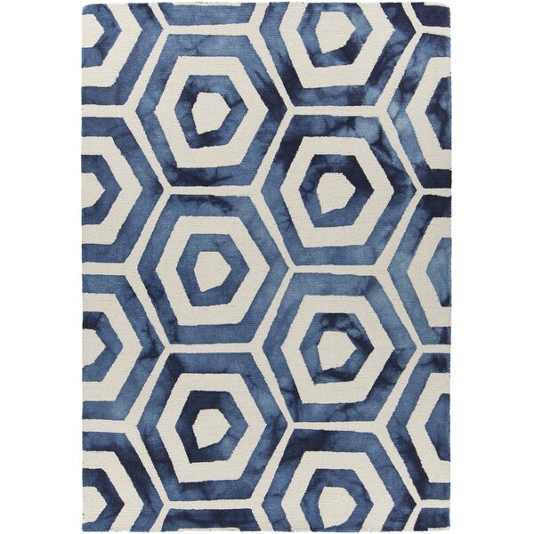 Garon Patterned Rectangular Contemporary Wool Blue/White Area Rug by Brayden Studio