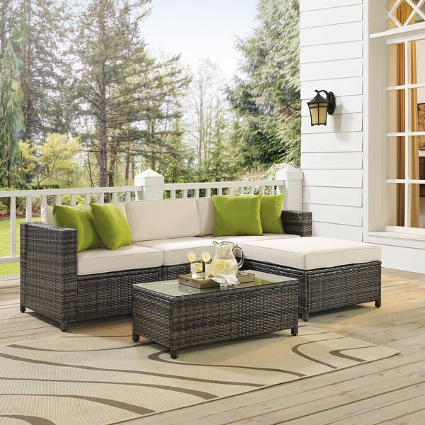 Kaczor 5 Piece Rattan Sectional Set with Cushions by Charlton Home