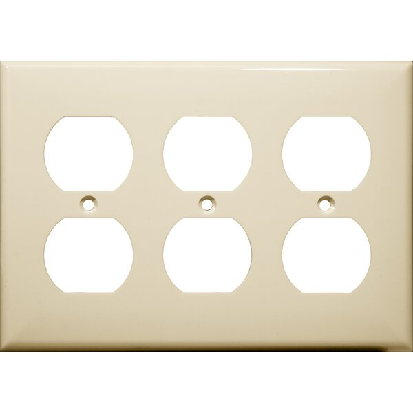 3 Gang Duplex Lexan Receptacle Wall Plates in Almond by Morris Products