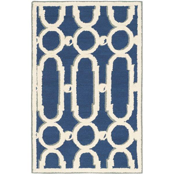 Sheeran Royal Blue/White Geometric Area Rug by Wrought Studio