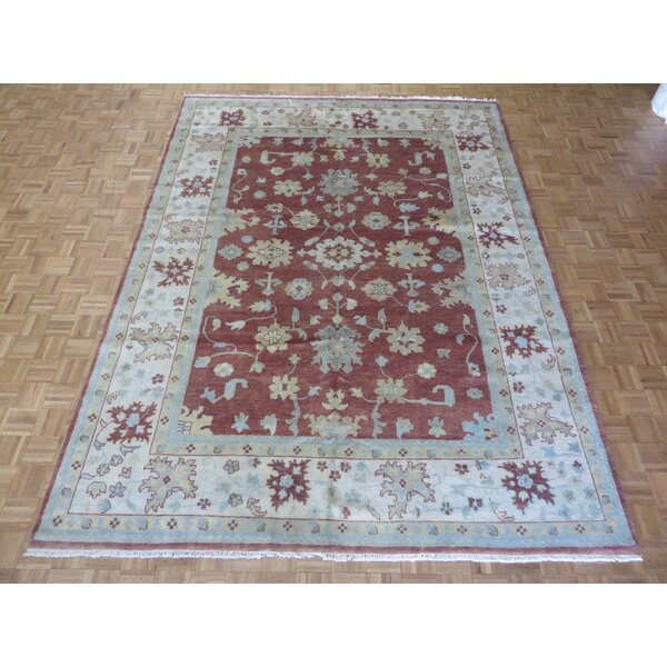 One-of-a-Kind Rhyne Oushak Hand-Knotted Wool Rust Brown Area Rug by Astoria Grand