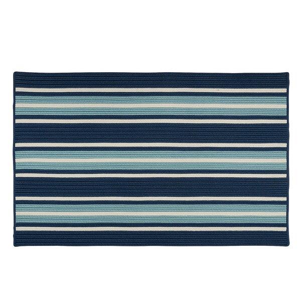 Madalynn Stripe Shoreline Hand-Braided Blue Indoor/Outdoor Area Rug by Breakwater Bay