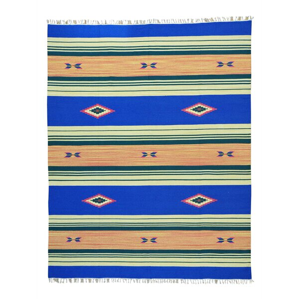 One-of-a-Kind Toohey Flat Weave Killim Reversible Hand-Knotted Cotton Blue/Beige Area Rug by Millwood Pines