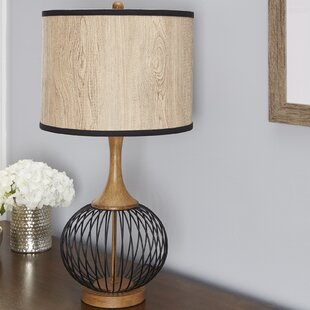 Chicken wire lamp wayfair rishi 18 table lamp with metal wire cage and faux wood shade keyboard keysfo Image collections
