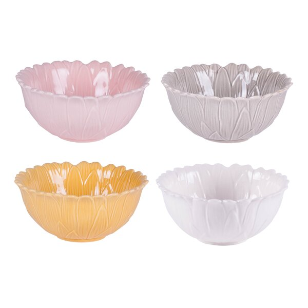 Savannah Home 9 oz. 4 Piece Assorted Flower Fruit Bowl Set by Fitz and Floyd