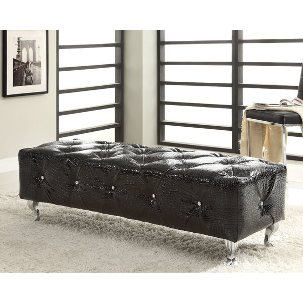 Attie Crocodile Faux Leather Bench by House of Hampton