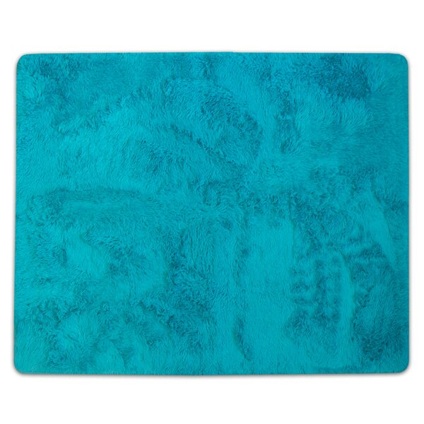 Hutton Cloud Plush Faux Fur Turquoise Area Rug by Wrought Studio