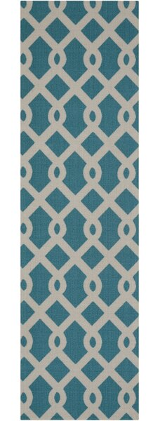 Easterly Geometric Blue Indoor / Outdoor Area Rug