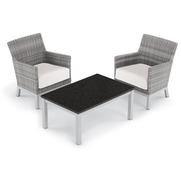 Saleem 3 Piece Club Rattan Conversation Set with Cushions Brayden Studio BSTU6678