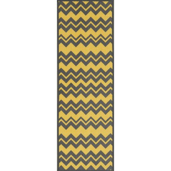 Barry Chevron Waves Gray/Yellow Area Rug by Viv + Rae