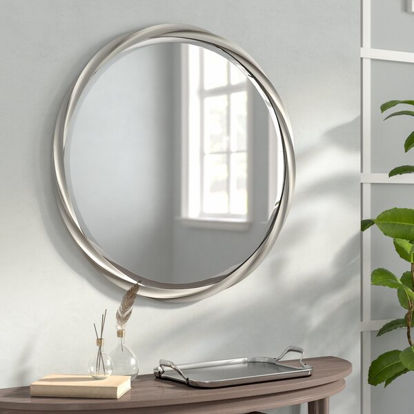 Round Silver Accent Mirror by Red Barrel Studio