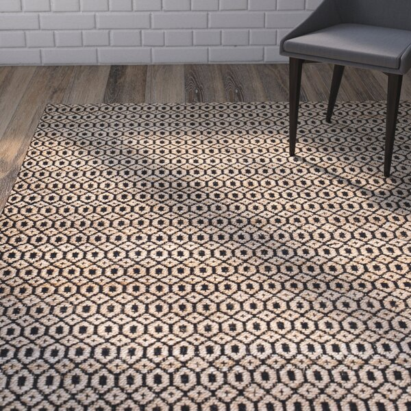 Shyla Hand-Woven Black/Tan Area Rug by Union Rustic