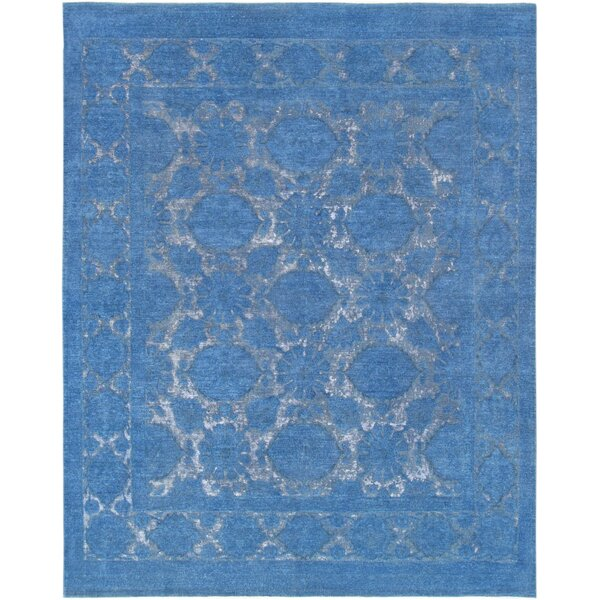 Hand-Knotted Wool Blue Area Rug by Pasargad