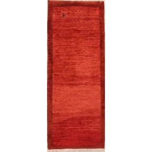 One-of-a-Kind Solid Red Gabbeh Shiraz Persian Black Area Rug by Isabelline