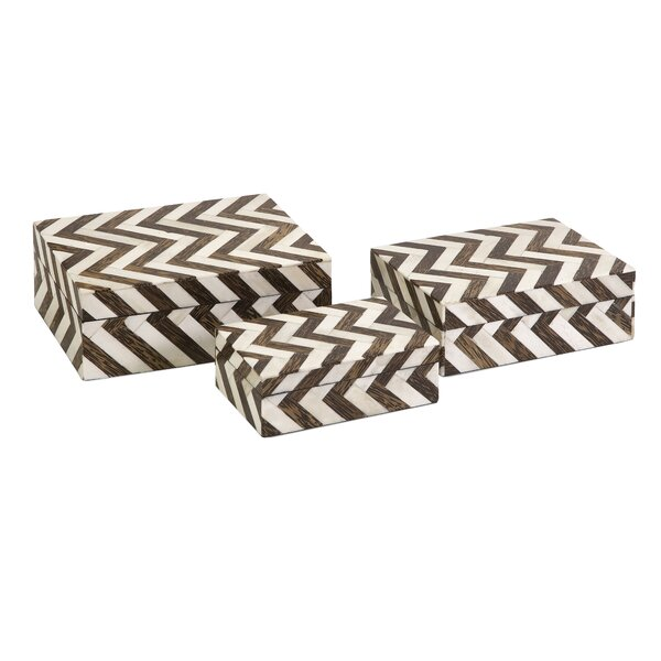 Bebb 3 Piece Zig Zag Bone Inlay Box Set by Gracie Oaks
