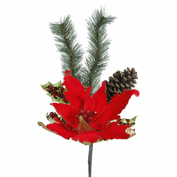 Poinsettia Artificial Christmas Stem (Set of 4) by The Holiday Aisle