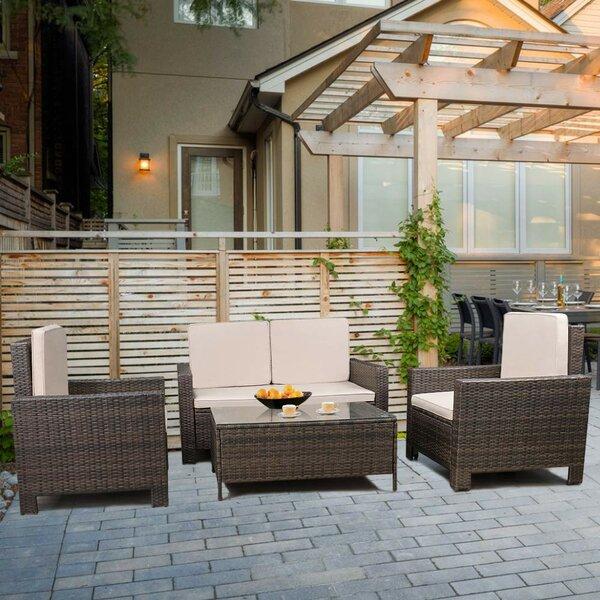 Shamavi 4 Piece Rattan Sofa Seating Group With Cushions By Latitude Run by Latitude Run 2020 Coupon