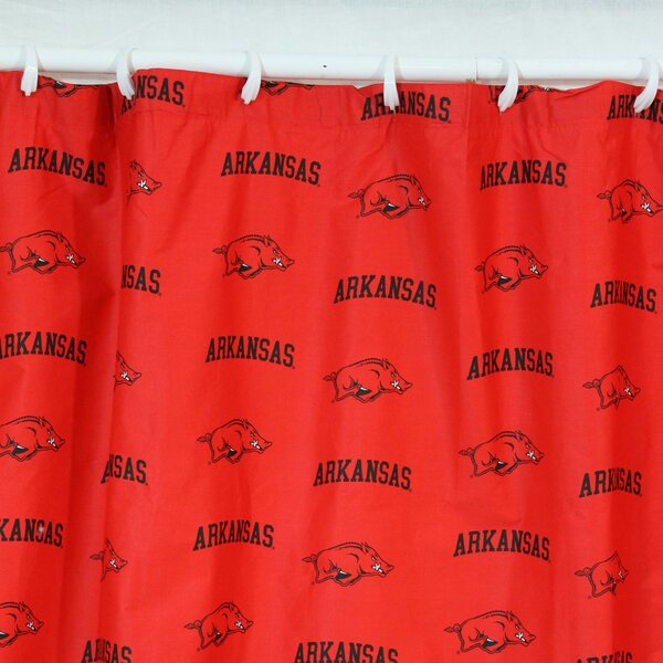 NCAA Arkansas Cotton Printed Shower Curtain by College Covers