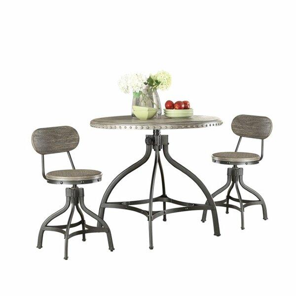 Crader Adjustable 3 Piece Dining Set by Williston Forge