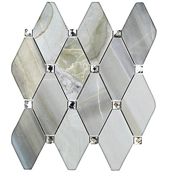 Mirage Lozenge 2.5 x 5 Marble/Glass Mosaic Tile in Gray by Splashback Tile
