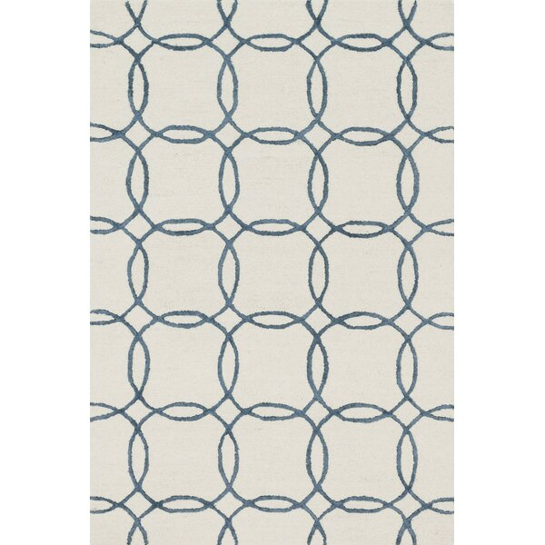 Kirkbride Hand-Tufted Ivory/Blue Area Rug by Charlton Home