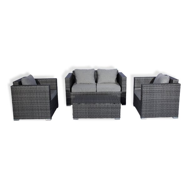 Seigler 4 Piece Rattan Sofa Seating Group With Cushions By Wrought Studio