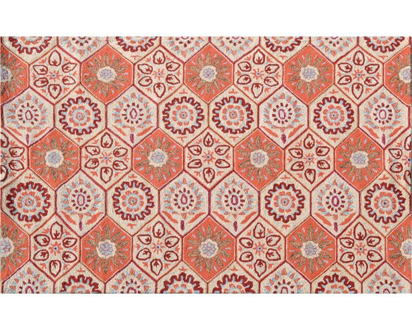 Huntington Hand-Hooked Orange Indoor/Outdoor Area Rug by Threadbind