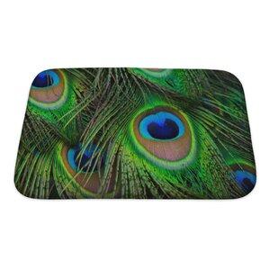 Animals Bright Peacock Feather Bath Rug