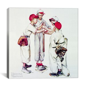 'Choosing up (Four Sporting Boys: Baseball)' by Norman Rockwell Painting Print on Canvas by Viv + Rae