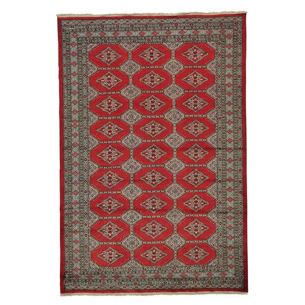 One-of-a-Kind Jaldar Bokara Hand-Knotted Red Area Rug by Bloomsbury Market