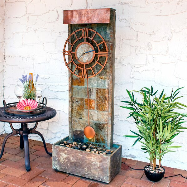 Wagner Slate Indoor/Outdoor Water Fountain with LED Spotlight by Loon Peak