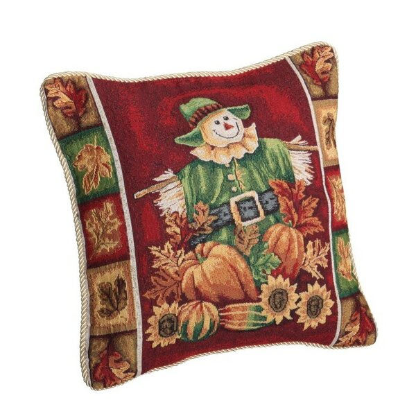Fall Harvest Scarecrow Throw Pillow by Violet Linen