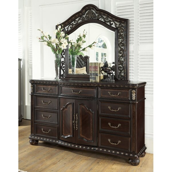 Pinehur 9 Drawer Double Dresser with Mirror by Astoria Grand