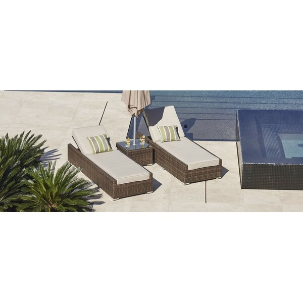 Metcalfe Reclining Chaise Lounge with Table by Latitude Run