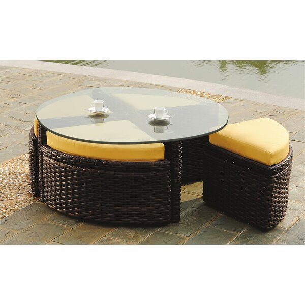 Losey Round Sushi Table with Ottomans by Rosecliff Heights