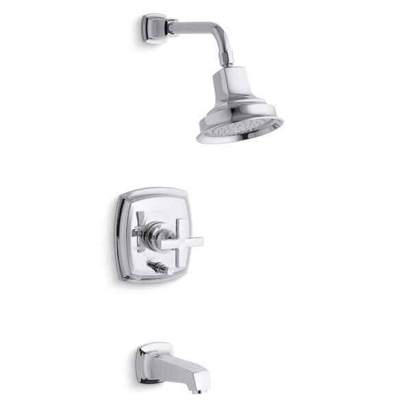 Margaux Rite-Temp Pressure-Balancing Bath and Shower Faucet Trim with Push-Button Diverter and Cross Handle, Valve Not Included by Kohler