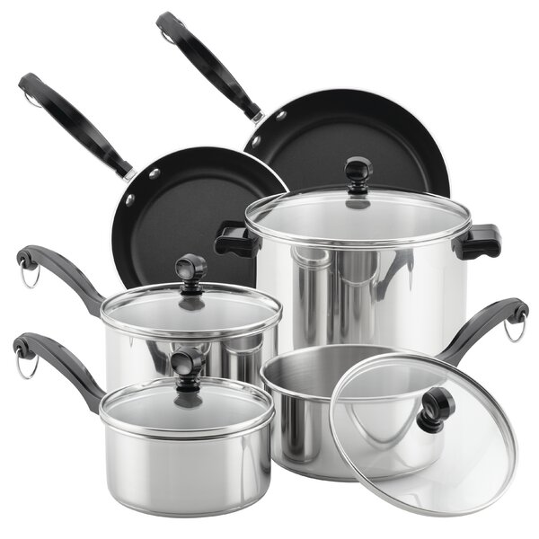 Classic Series 12 Piece Stainless Steel Cookware Set by Farberware