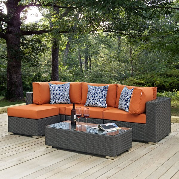Tripp 5 Piece Rattan Sunbrella Sectional Seating Group with Cushions by Brayden Studio