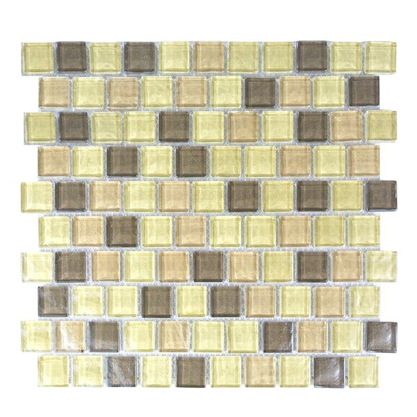Geo 1 x 1 Glass Mosaic Tile in Light Brown by Abolos