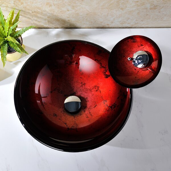 Tone Glass Circular Vessel Bathroom Sink with Faucet by ANZZI