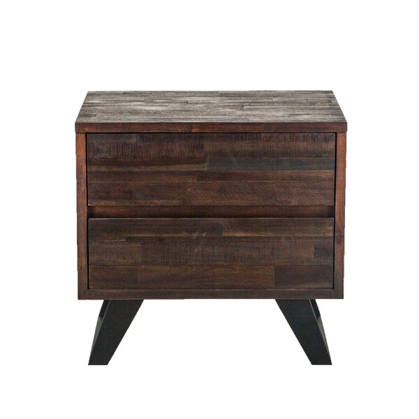Josef Acacia Wood 2 Drawer Nightstand by Union Rustic
