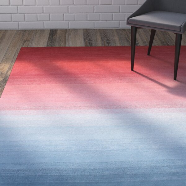 Daigle Hand-Woven Red/Blue Area Rug by Brayden Studio