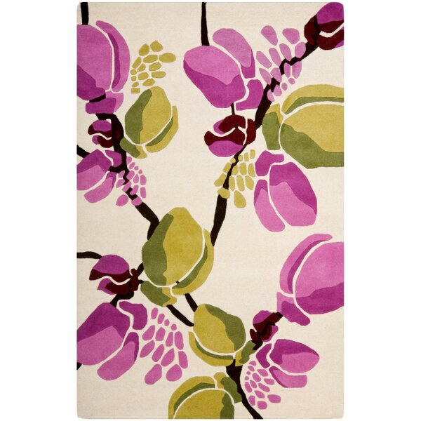 Woodburn Hand-Tufted Ivory/Pink Area Rug by Latitude Run