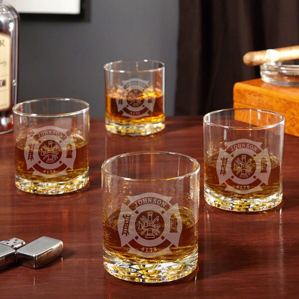Fire and Rescue Engraved Buckman 10 oz. Whiskey Glass (Set of 4) by Home Wet Bar