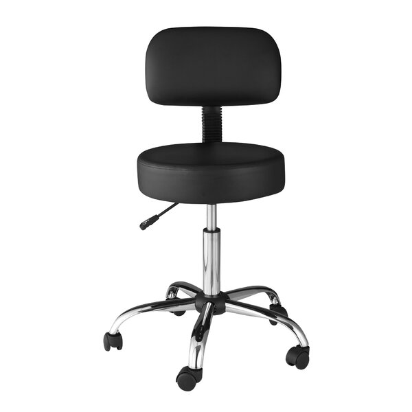 Height Adjustable Lab Stool with Back Cushion by OneSpace